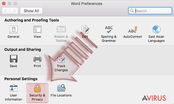 Disable Macros on Mac OS X. Step 2