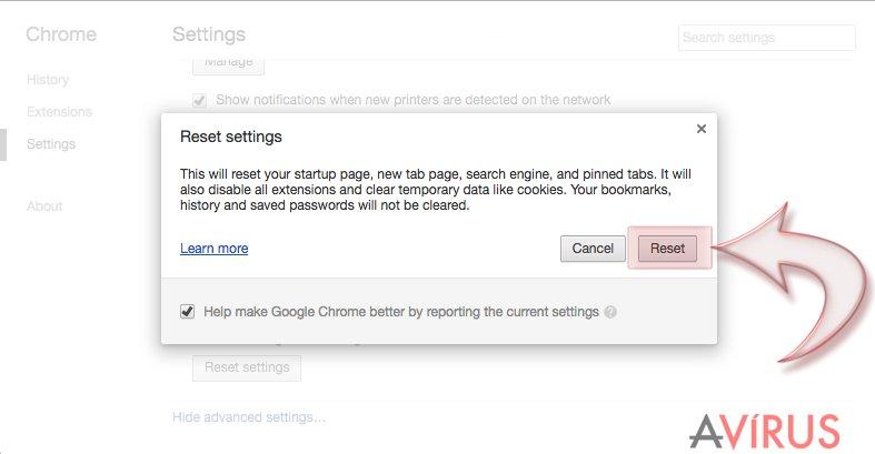 A Google Chrome alaphelyzetbe állítása kép