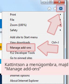 Kattintson a menügombra, majd 'Manage add-ons'