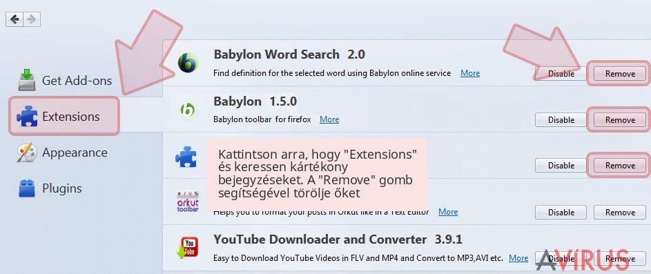 Kattintson arra, hogy 'Extensions' és keressen kártékony bejegyzéseket. A 'Remove' gomb segítségével törölje őket