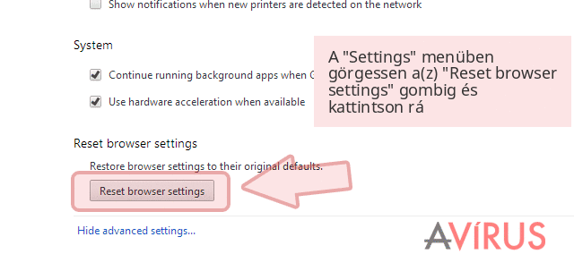 A 'Settings' menüben görgessen a(z) 'Reset browser settings' gombig és kattintson rá