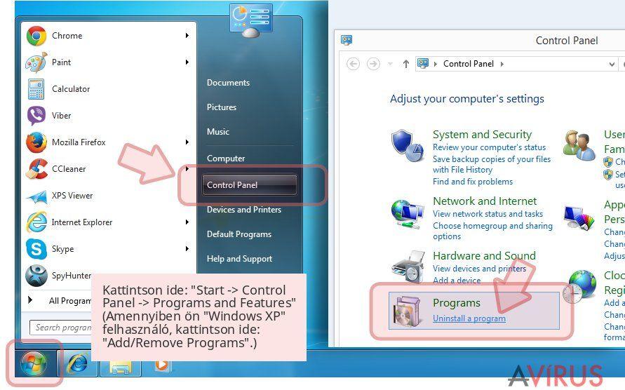 Kattintson ide: 'Start -> Control Panel -> Programs and Features' (Amennyiben ön 'Windows XP' felhasználó, kattintson ide: 'Add/Remove Programs'.)