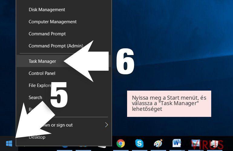 Nyissa meg a Start menüt, és válassza a 'Task Manager' lehetőséget