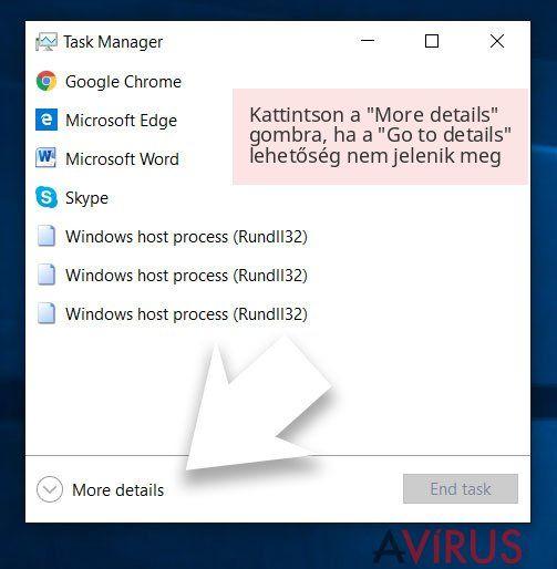 Kattintson a 'More details' gombra, ha a 'Go to details' lehetőség nem jelenik meg