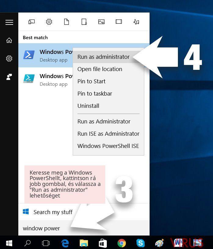 Keresse meg a Windows PowerShellt, kattintson rá jobb gombbal, és válassza a 'Run as administrator' lehetőséget
