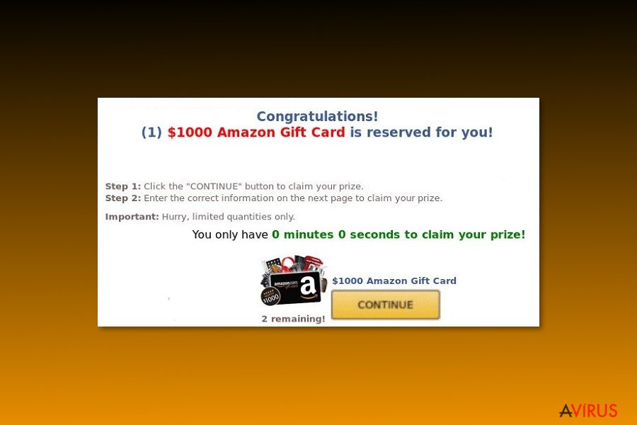 """Example of  """"$1000 Amazon Gift Card is reserved for you"""" virus"""