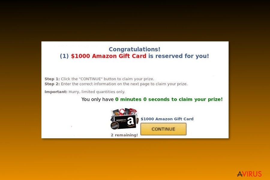 "Példa az ""$1000 Amazon Gift Card is reserved for you"" vírusról"