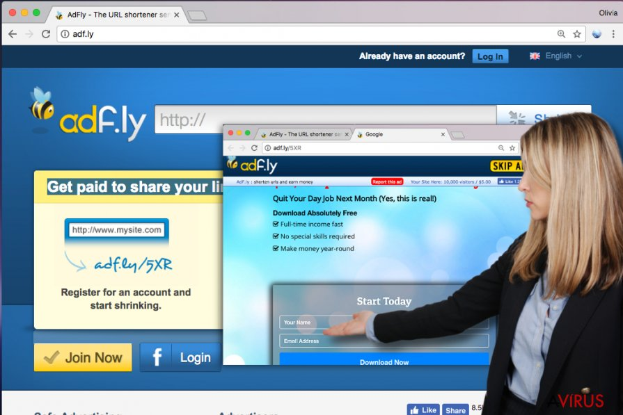 Adf.ly website and example of Adf.ly ad asking for user's personal information