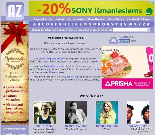 AZLyrics hirdetések kép