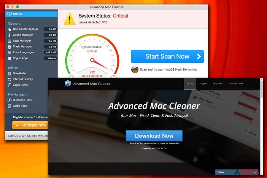 Advanced Mac Cleaner vírus kép