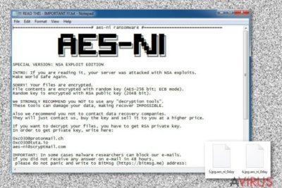 Az .Aes_ni_0day fájlkiterjesztés vírus üzenete