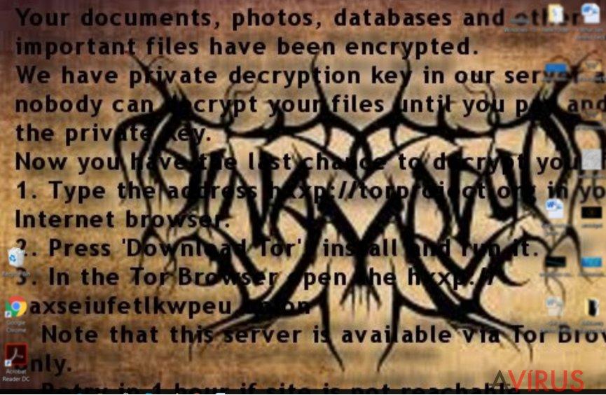 Az Al-Namrood ransomware üzenete