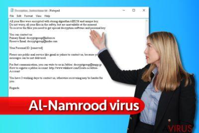 Az Al-Namrood ransomware vírus üzenete