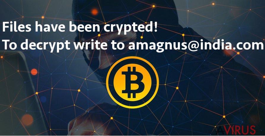 Képernyőkép az Amagnus@india.com ransomware vírusról