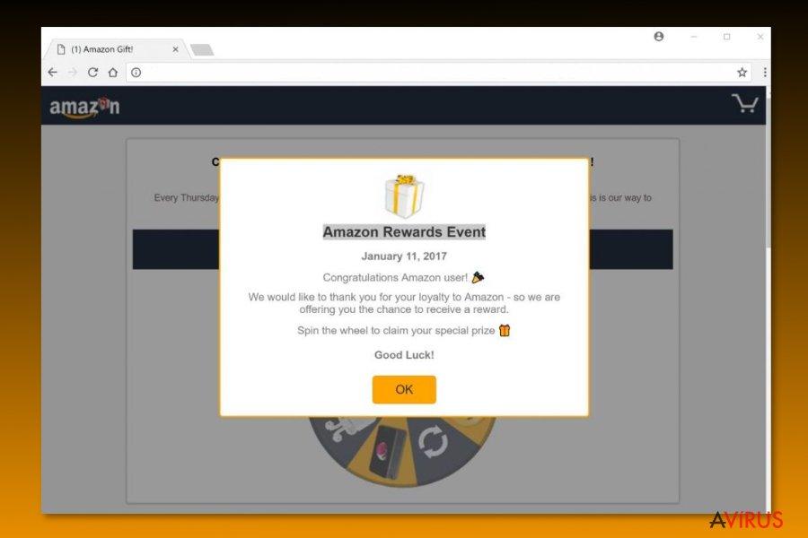 "Example of ""Amazon Rewards Event"" scam"