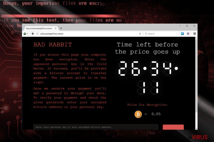 Képernyőkép a BadRabbit fizetőoldaláról