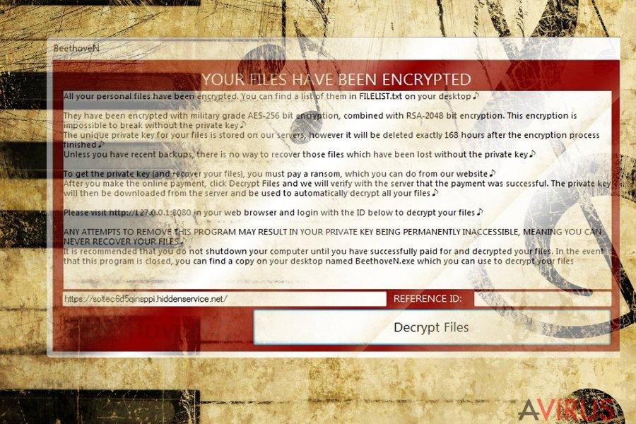 The screenshot of BeethoveN virus