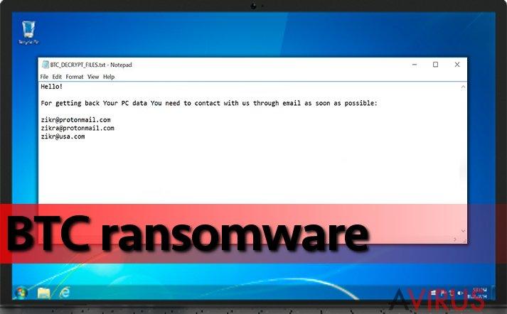 BTC ransomware egy fertőzött gépen