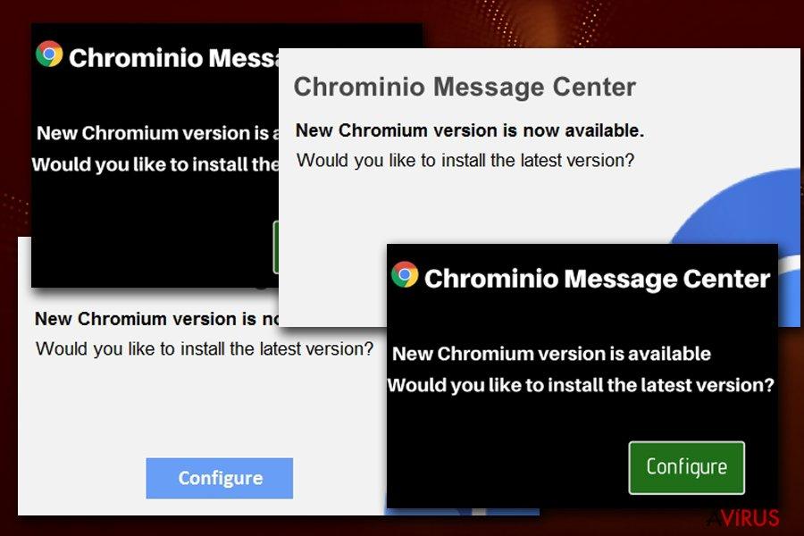 Chrominio Message fake alert