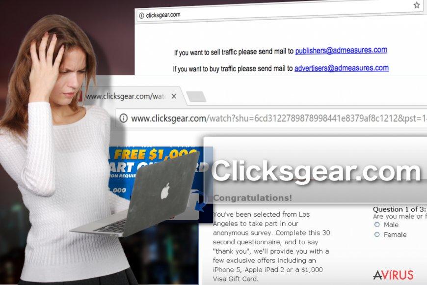Illusztráció a Clicksgear.com adware-ről