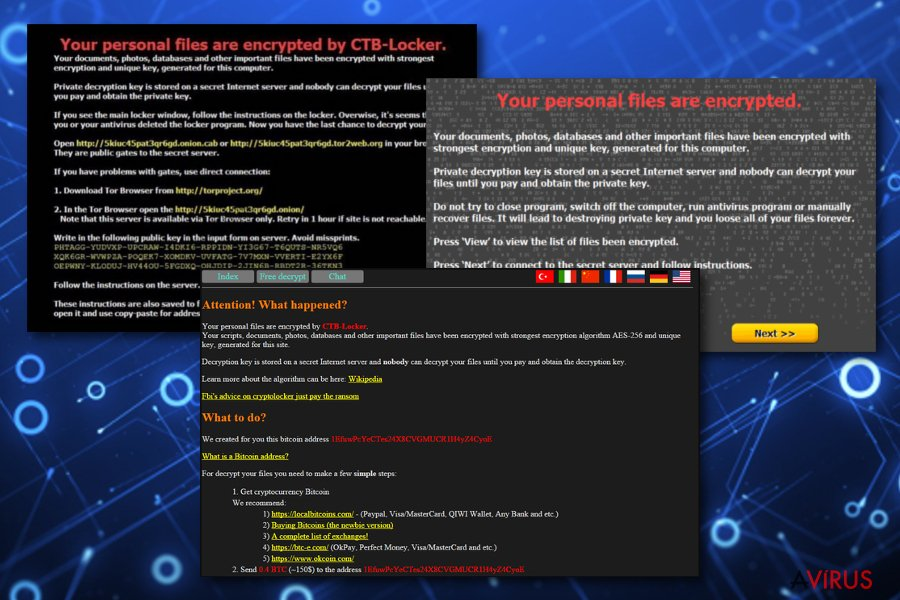 CTB Locker vírus kép