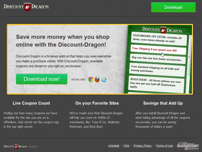 'Ads by Discount Dragon' vírus kép