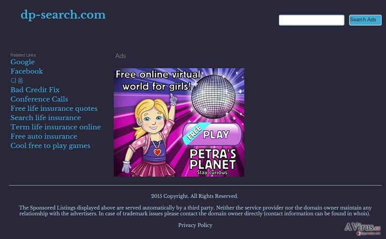 Dp-search.com átirányító vírus kép