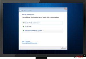 Fake Windows Activation screen