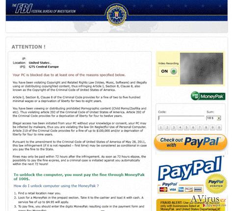 FBI PayPal vírus kép