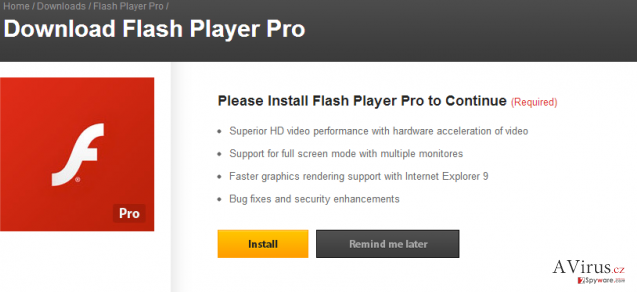 Flash Player Pro vírus kép
