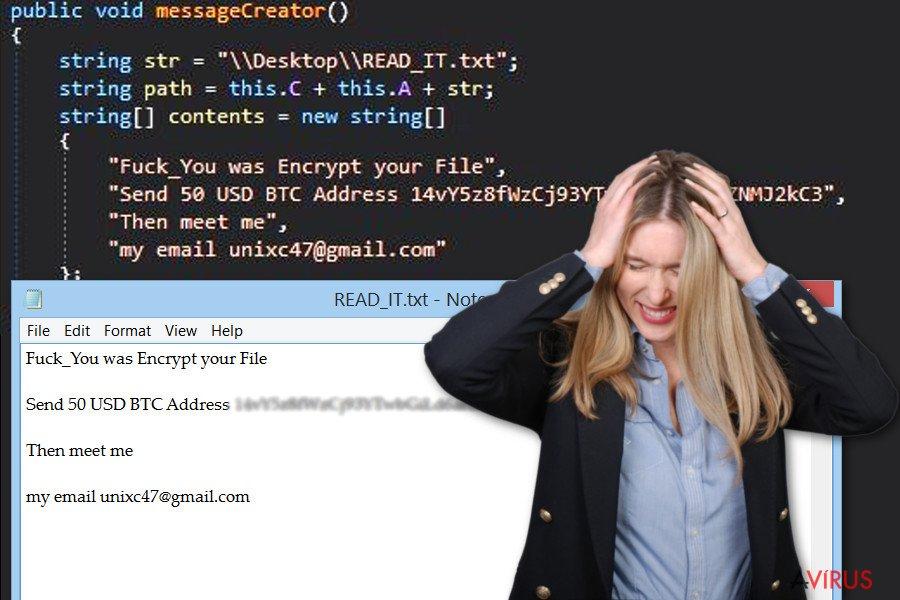 Kép a GC47 ransomware vírusról
