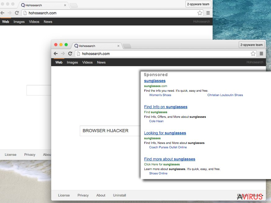 Hohosearch.com browser hijacker presents a bogus search engine