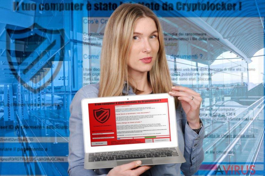 Az Il tuo computer e stato infettato da Cryptolocker! zsarolóvírus zárképernyője