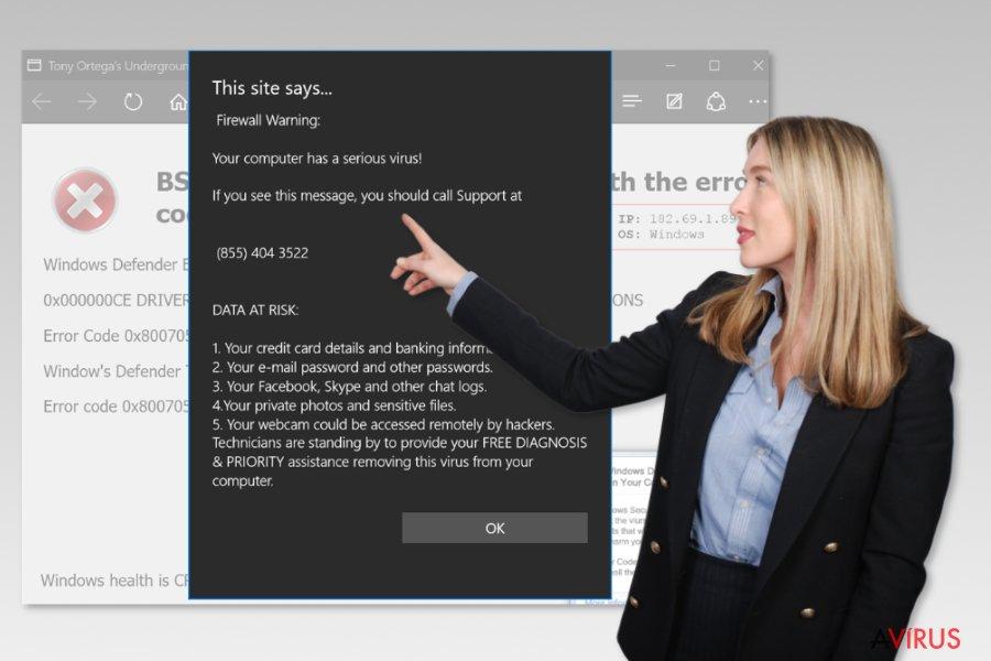 A Microsoft Edge ügyfélszolgálati csaláshoz tartozó vírus