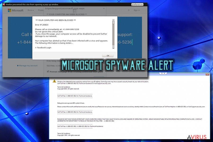 """""""Microsoft Warning Alert"""" ügyfélszolgálati csalás vírus kép"""