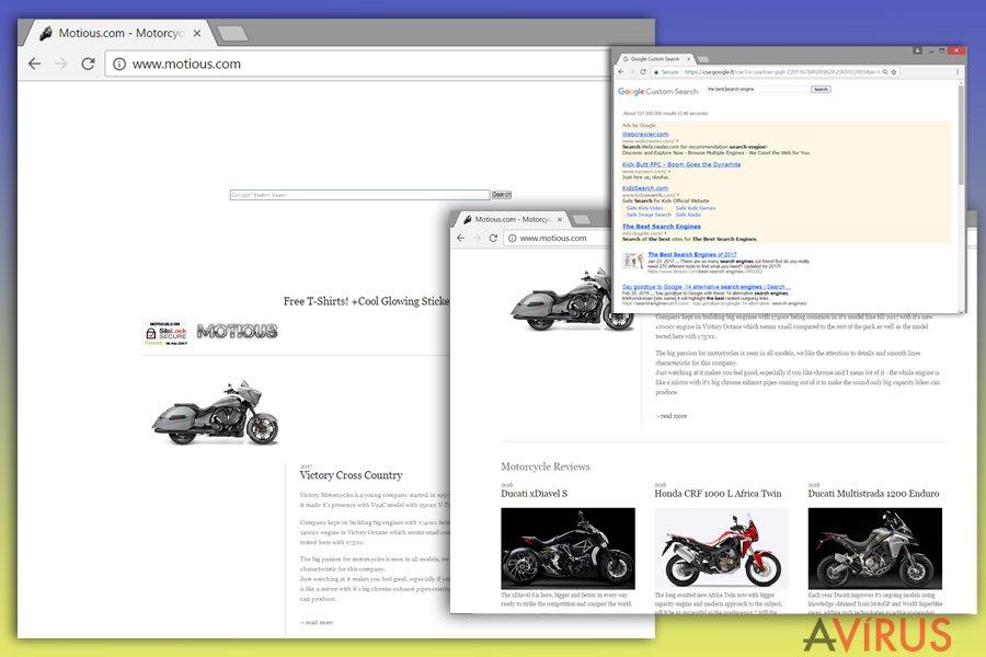 A Motious.com vírus megjelenése