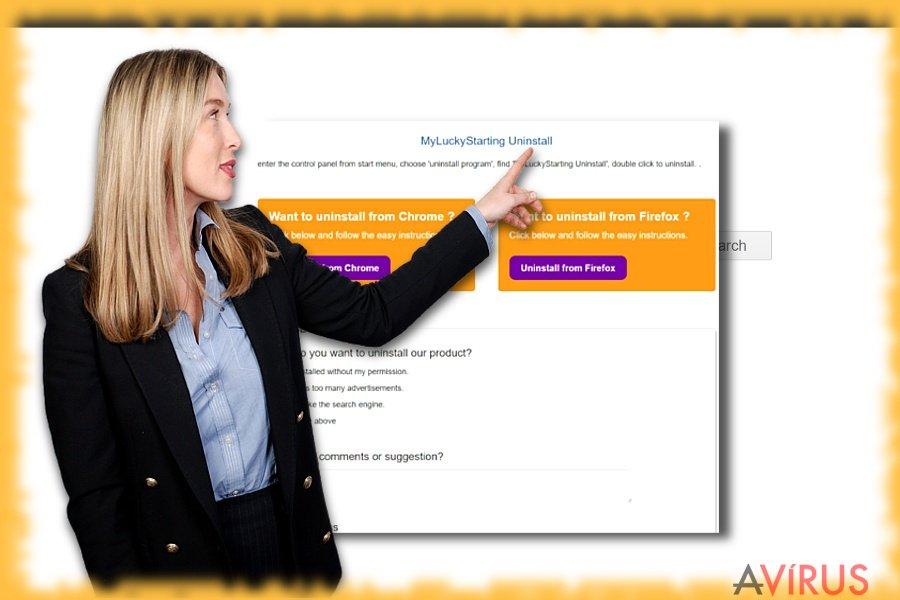 A Myluckystarting.com-ot ábrázoló kép