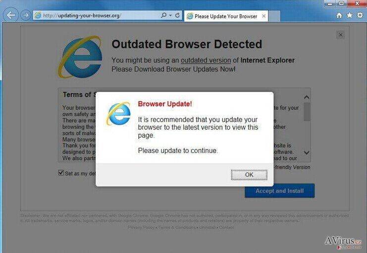 Olo.updateweb.org felugró vírus kép