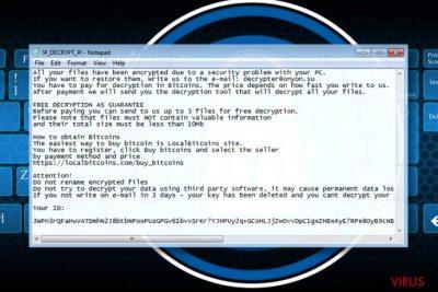 Az OnyonLock ransomware üzenete