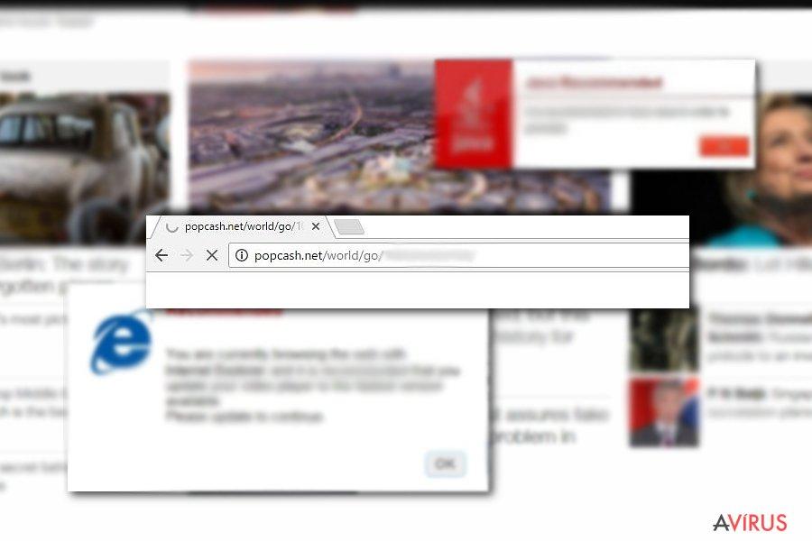 Popcash.net felugró vírus kép