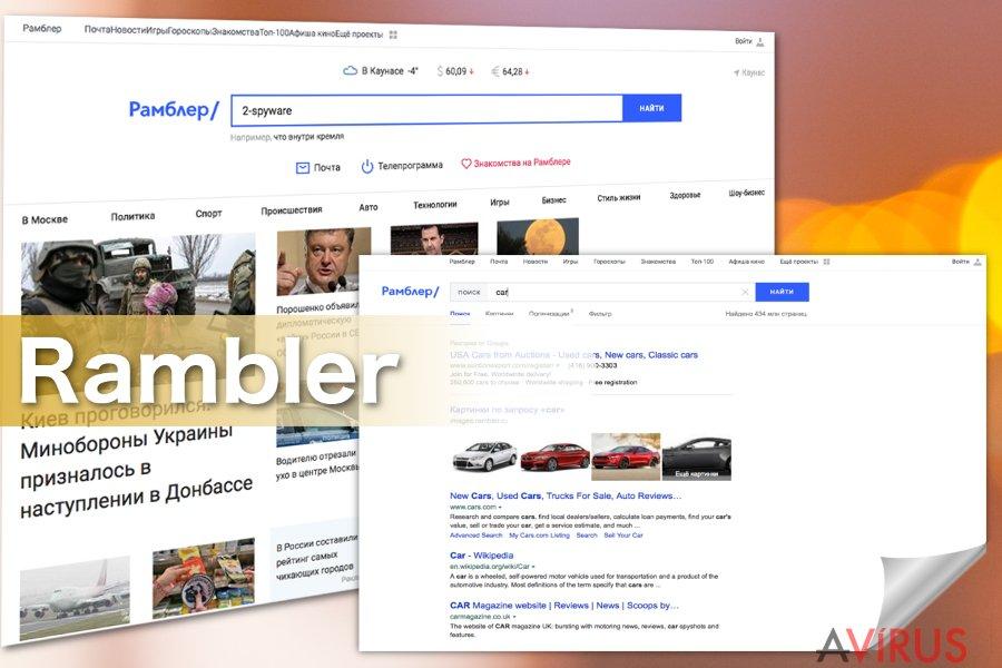 Képernyőkép a Rambler Search vírusról