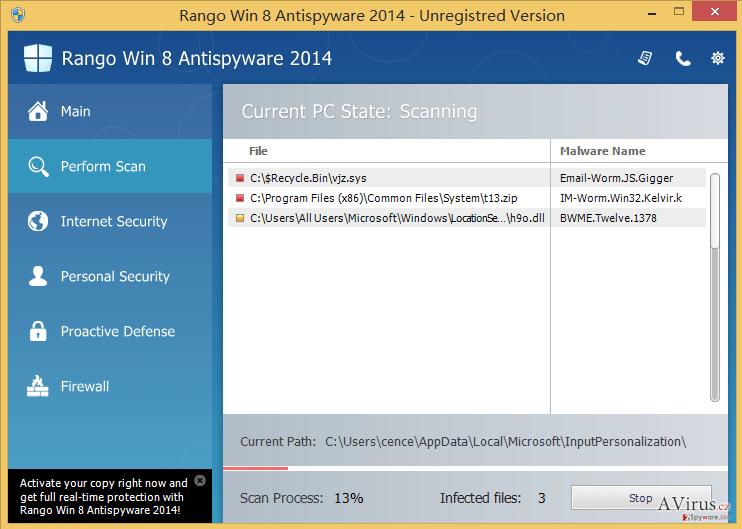 Rango Win 8 Antispyware 2014 kép