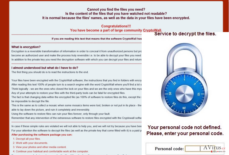 The picture showing ransomware notification