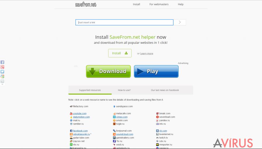 SaveFrom.net vírus