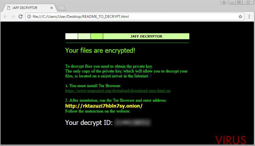 Jaff ransomware vírus kép