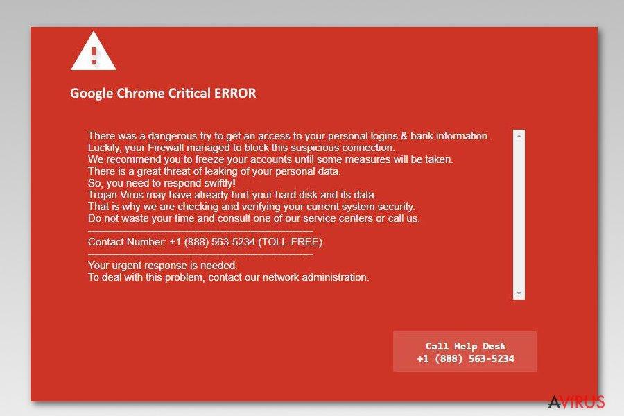 Képernyőkép a Google Chrome Critical Error üzenetről
