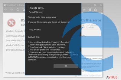 Képernyőkép a Microsoft Edge vírusról