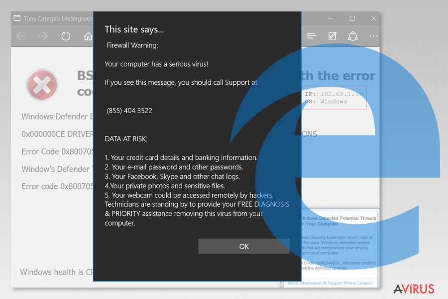 Screenshot of Microsoft Edge virus