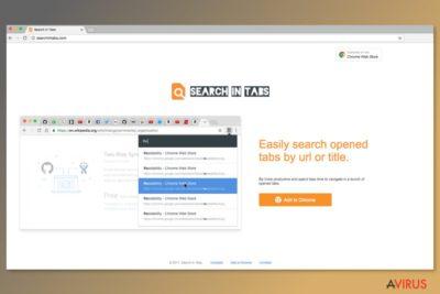 Képernyőkép a Search In Tabs letöltési oldaláról