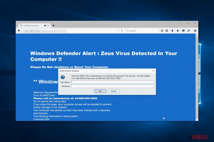 "Screenshot of ""Security Update Error"" virus"